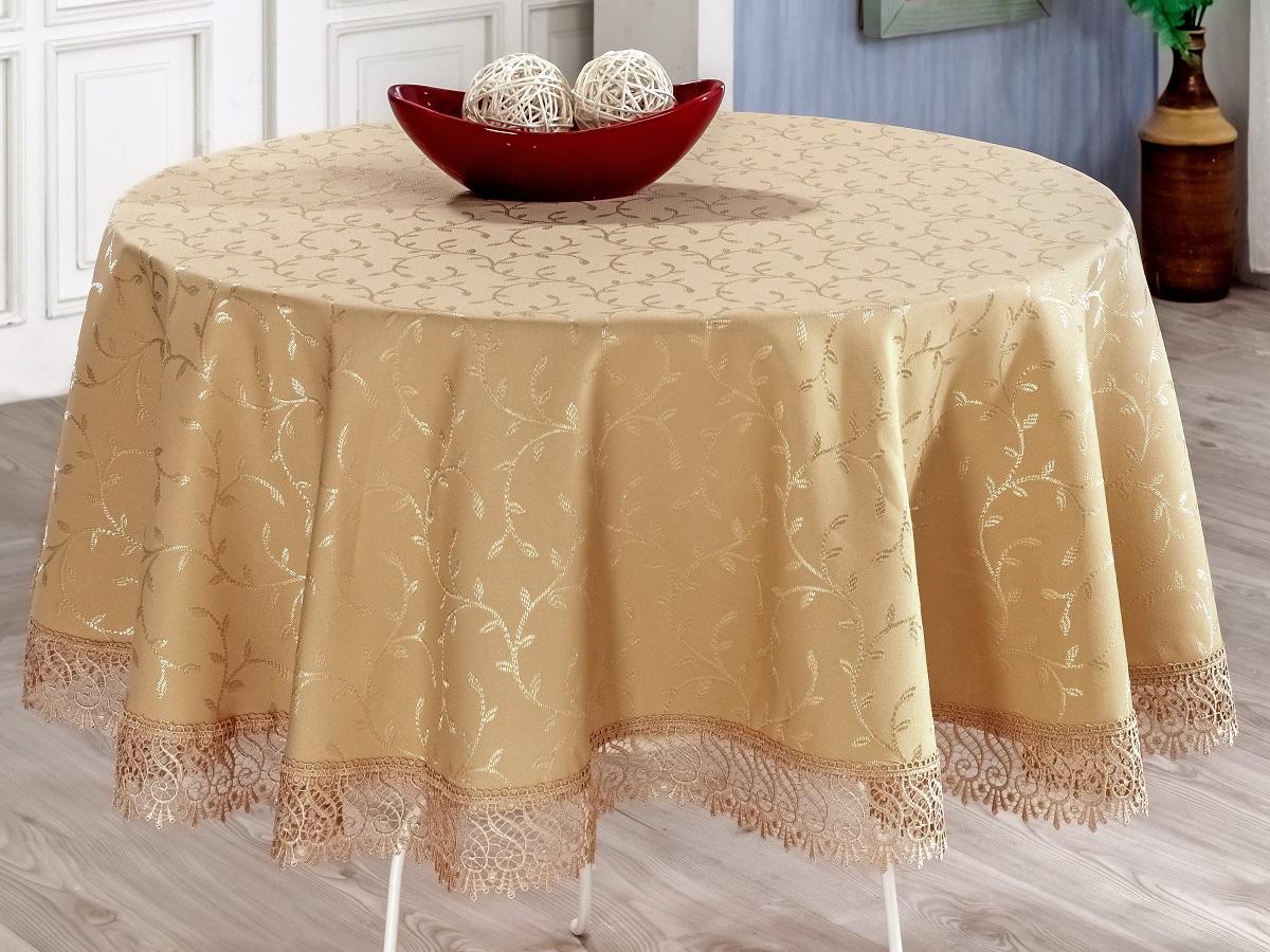 Скатерть Evdy Kdk, круглая, цвет: персиковый, диаметр 160 см531-401Круглая скатерть Evdy Kdk выполнена из высококачественного полиэстера и оформлена изящным цветочным узором, края оснащены фестонами. Использование такой скатерти сделает застолье торжественным, поднимет настроение гостей и приятно удивит их вашим изысканным вкусом.