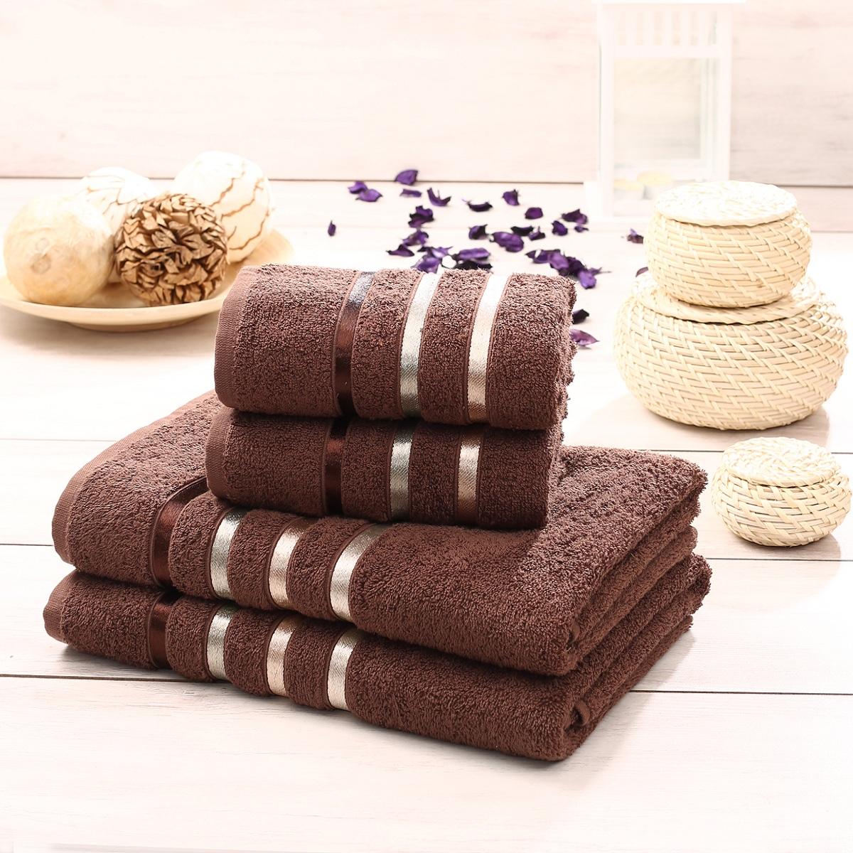 Набор махровых полотенец Karna Bale, цвет: коричневый, 4 шт. 953/CHAR01510503Набор Karna Bale включает 2 полотенца для лица, рук и 2 банных полотенца. Изделия выполнены из высококачественного хлопка с отделкой в виде полос. Каждое полотенце отличается нежностью и мягкостью материала, утонченным дизайном и превосходным качеством. Они прекрасно впитывают влагу, быстро сохнут и не теряют своих свойств после многократных стирок. Такой набор создаст в вашей ванной царственное великолепие и подарит чувство ослепительного торжества. А также станет приятным подарком для ваших близких или друзей. Набор украшен текстильной лентой. Размер:50 x 80 см - 2шт. и 70 x 140 см - 2 шт.