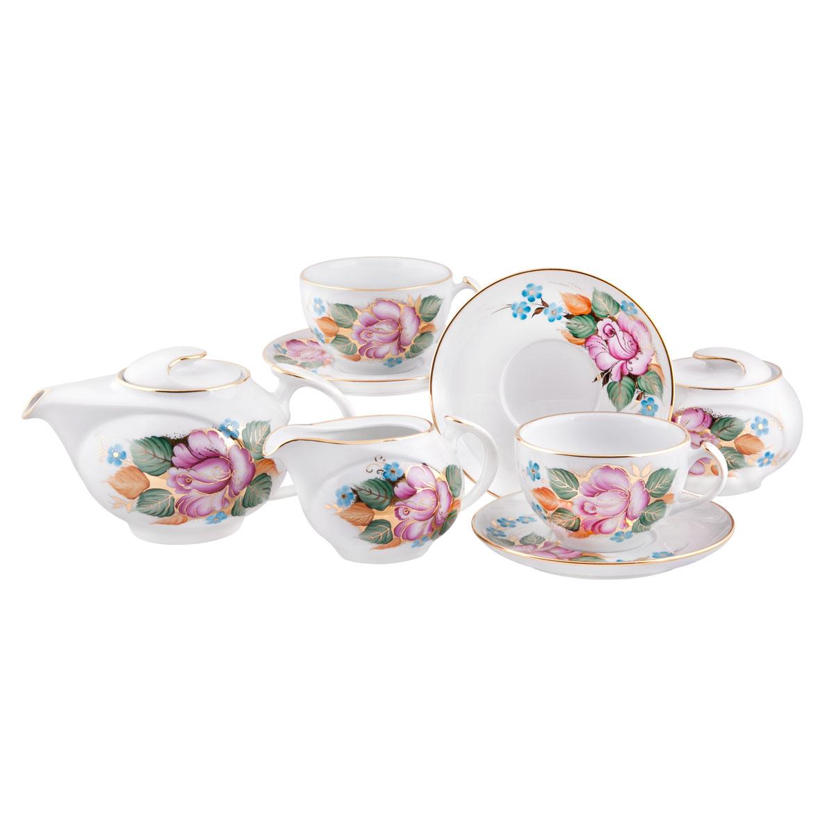 Сервиз чайный Башфарфор Розалия, 15 предметовCM000001328Сервиз чайный из белого фарфора рассчитан на 6 персон. Тонкий белый фарфор.Изумительная посуда для настоящих ценителей с хорошим вкусом, подходит и для особых случаев и на каждый день. В состав набора входит: чашка 250мл 6 шт, блюдце 14,5см 6 шт, сахарница 300мл 1шт, чайник 600мл 1 шт, Молочник 250мл 1шт.