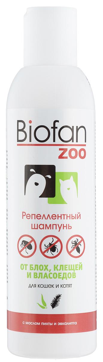 Шампунь репеллентный для кошек и котят Biofan Zoo, 200 мл20бфШампунь репеллентный Biofan Zoo предназначен для уничтожения блох, клещей и власоедов, а также профилактической защиты и гигиенического ухода за кожно-шерсным покровом кошек и котят всех пород и типов шерсти. Quassia vinegar (уксус квассии горькой) - натуральный комплекс, состоящий из инсектицида и репеллента. Эффективен в отношении блох, клещей, власоедов на всех стадиях развития. Нетоксичен для животных, людей и окружающей среды. Придает блеск шерсти. Масла эфирные пихты и эвкалипта способствуют восстановлению кожи после укуса, обладают бактерицидным и дезинфицирующим действием, придают приятный запах. Способ применения: нанести необходимое количество шампуня на смоченную поверхность шерсти животного, избегая попадания в глаза, уши и пасть, массировать до образования пены, затем тщательно промыть водой. При необходимости повторить процедуру. Подходит для частого применения. Товар сертифицирован.