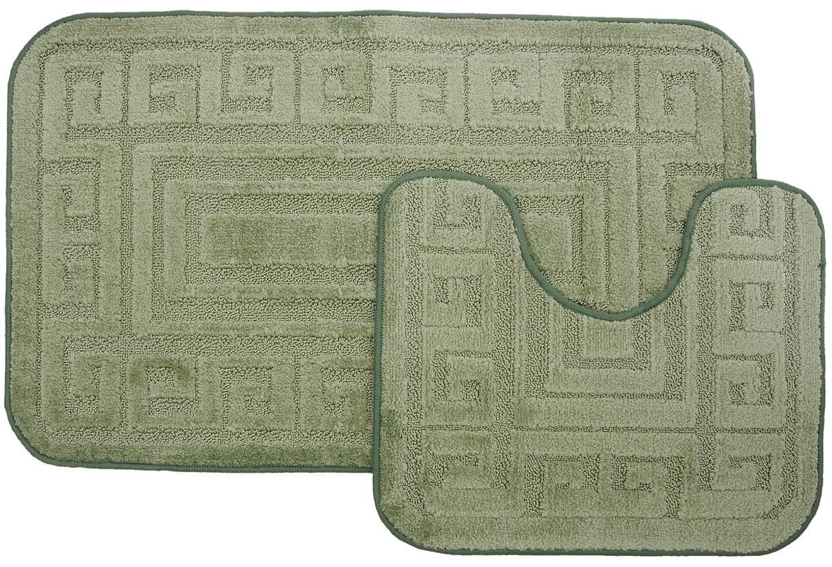"""Набор ковриков для ванной MAC Carpet """"Рома. Версаче"""", цвет: светло-зеленый, 60 х 100 см, 50 х 60 см, 2 шт 11541"""