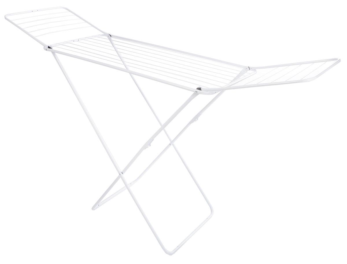 Сушилка для белья Gimi Jolly, напольная, цвет: белый, 180 x 55 x 93 см22729Напольная сушилка для белья Gimi Jolly проста и удобна в использовании, компактно складывается, экономя место в вашей квартире. Сушилку можно использовать на балконе или дома.Она оснащена складными створками для сушки одежды во всю длину, а также имеет специальные пластиковые крепления в основе стоек, которые не царапают пол. Размер сушилки: 180 х 55 х 93 см. Общая длина реек: 18 м.