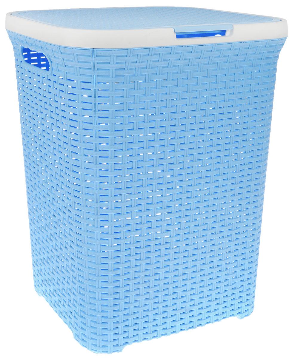 Корзина для белья Violet, цвет: голубой, белый, 60 л1860/3_голубой, белыйВместительная корзина для белья Violet  изготовлена из прочного цветного пластика. Она отлично подойдет для хранения белья перед стиркой. Специальные отверстия на стенках создают идеальные условия для проветривания. Изделие оснащено крышкой и двумя эргономичными ручками для переноски. Такая корзина для белья прекрасно впишется в интерьер ванной комнаты. Объем: 60 л.