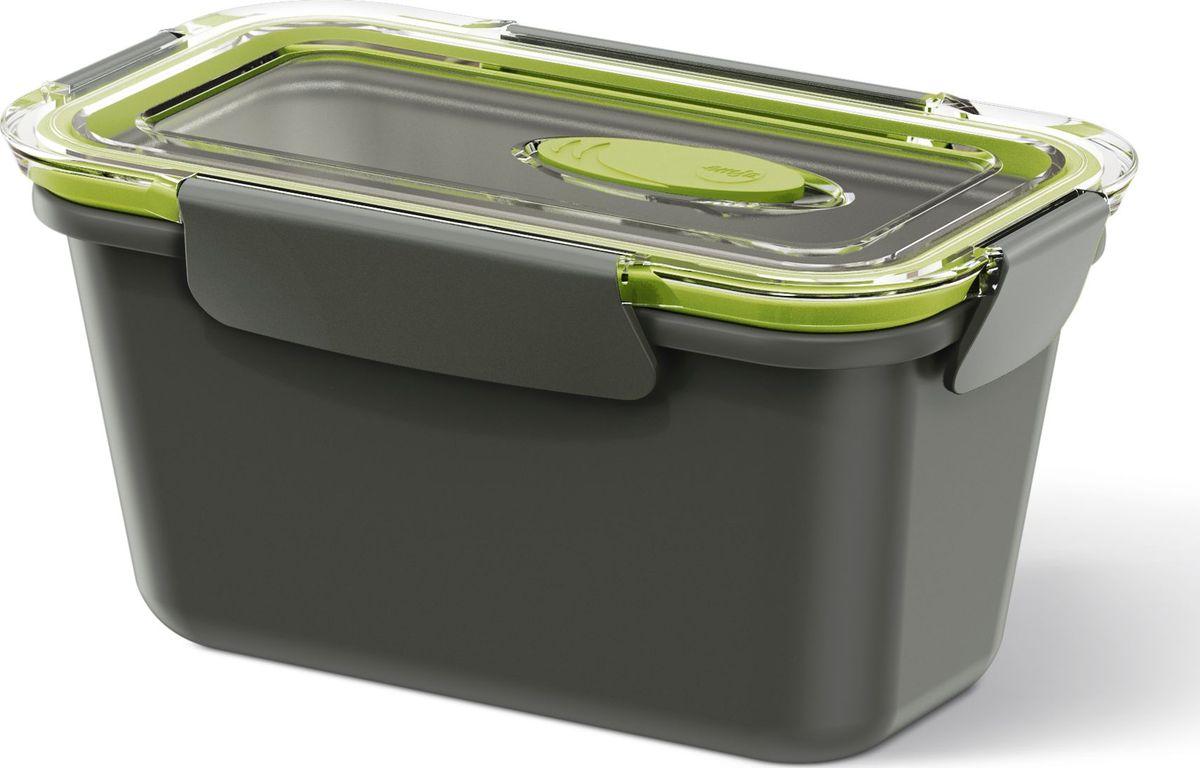 Ланч-бокс Emsa Bento Box, цвет: серый, зеленый, 0,9 л513951Ланч-бокс Emsa Bento Box - еда с собой в стильной упаковке. В удобном и практичном ланч-боксе еда дольше останется свежей, вкусной и надежно упакованной. На крышке имеется клапан для щадящего режима разогревания в микроволновке. Ланч-бокс подходит не только для разогрева пищи, но и для заморозки. Можно мыть в посудомоечной машине. Современный дизайн позволяет брать контейнер с собой на учебу, работу или прогулку.