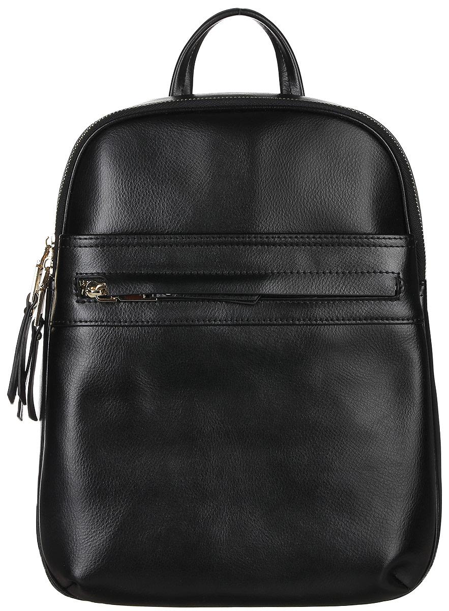 Рюкзак женский Janes Story, цвет: черный. KW-27067-04KW-27067-04Стильный женский рюкзак Janes Story выполнен из натуральной кожи и оформлен металлической фурнитурой. Изделие содержит отделение, закрывающееся с помощью металлической застежки-молнии. Внутри расположены: два накладных кармана для мелочей и два кармана на молнии. Спереди рюкзак дополнен двумя карманами на молнии, сзади прорезным карманом на молнии. Рюкзак оснащен удобными лямками регулируемой длины, а также петлей для подвешивания. Оригинальный аксессуар позволит вам завершить образ и быть неотразимой.