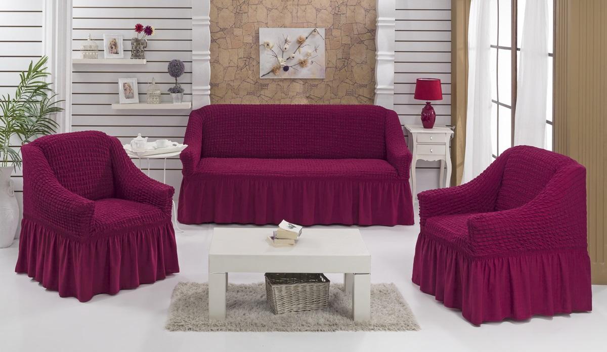 Набор чехлов для мягкой мебели Burumcuk Bulsan, цвет: бордовый, размер: стандарт, 3 шт1717/CHAR003Набор чехлов для мягкой мебели Burumcuk Bulsan придаст вашей мебели новый внешний вид. Каждый элемент интерьера нуждается в уходе и защите. В большинстве случаев потертости появляются на диванах и креслах. В набор входит чехол для трехместного дивана и два чехла для кресла. Чехлы изготовлены из 60% полиэстера и 40% хлопка. Такой материал прекрасно переносит нагрузки, долго не стареет и его просто очистить от грязи. Набор чехлов Karna Bulsan создан для тех, кто не планирует покупать новую мебель каждый год. Размер кресла: Ширина и глубина посадочного места: 70-80 см. Высота спинки от посадочного места: 70-80 см. Высота подлокотников: 35-45 см. Ширина подлокотников: 25-35 см. Высота юбки: 35 см. Размер дивана: Ширина посадочного места: 210-260 см. Глубина посадочного места: 70-80см. Высота спинки от посадочного места: 70-80 см. Ширина подлокотников: 25-35 см. Высота юбки: 35 см.