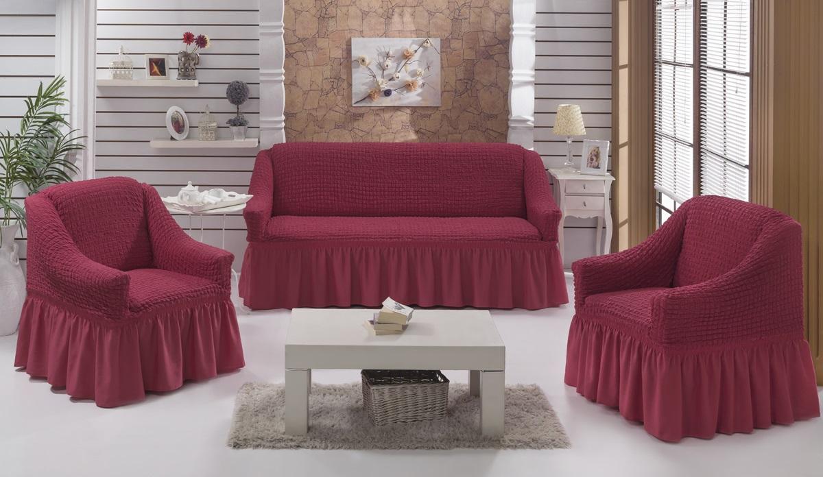 Набор чехлов для мягкой мебели Burumcuk Bulsan, цвет: вишневый, размер: стандарт, 3 шт1717/CHAR007Набор чехлов для мягкой мебели Burumcuk Bulsan придаст вашей мебели новый внешний вид. Каждый элемент интерьера нуждается в уходе и защите. В большинстве случаев потертости появляются на диванах и креслах. В набор входят чехол для трехместного дивана и два чехла для кресла. Чехлы изготовлены из 60% полиэстера и 40% хлопка. Такой материал прекрасно переносит нагрузки, долго не стареет и его просто очистить от грязи. Набор чехлов Karna Bulsan создан для тех, кто не планирует покупать новую мебель каждый год. Размер кресла: Ширина и глубина посадочного места: 70-80 см. Высота спинки от посадочного места: 70-80 см. Высота подлокотников: 35-45 см. Ширина подлокотников: 25-35 см. Высота юбки: 35 см. Размер дивана: Ширина посадочного места: 210-260 см. Глубина посадочного места: 70-80 см. Высота спинки от посадочного места: 70-80 см. Ширина подлокотников: 25-35 см. Высота юбки: 35 см.