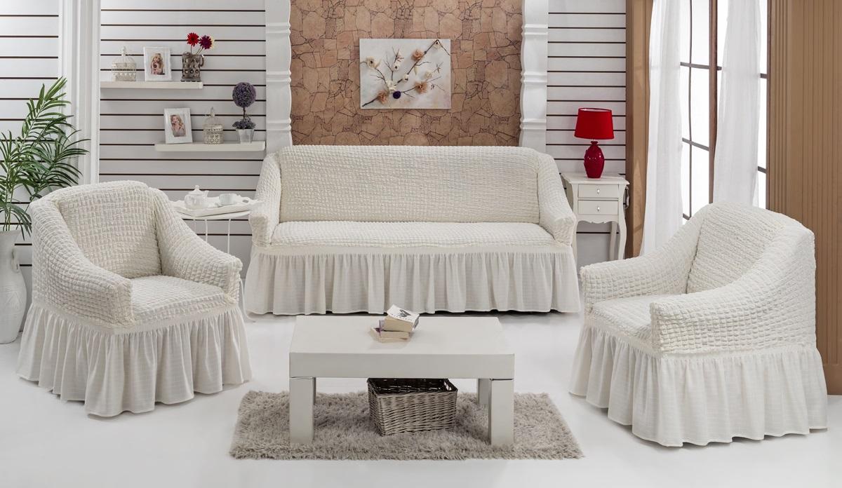 Набор чехлов для мягкой мебели Burumcuk Bulsan, цвет: белый, размер: стандарт, 3 шт1717/CHAR008Набор чехлов для мягкой мебели Burumcuk Bulsan придаст вашей мебели новый внешний вид. Каждый элемент интерьера нуждается в уходе и защите. В большинстве случаев потертости появляются на диванах и креслах. В набор входит чехол для трехместного дивана и два чехла для кресла. Чехлы изготовлены из 60% полиэстера и 40% хлопка. Такой материал прекрасно переносит нагрузки, долго не стареет и его просто очистить от грязи. Набор чехлов Karna Bulsan создан для тех, кто не планирует покупать новую мебель каждый год. Размер кресла: Ширина и глубина посадочного места: 70-80 см. Высота спинки от посадочного места: 70-80 см. Высота подлокотников: 35-45 см. Ширина подлокотников: 25-35 см. Высота юбки: 35 см. Размер дивана: Ширина посадочного места: 210-260 см. Глубина посадочного места: 70-80см. Высота спинки от посадочного места: 70-80 см. Ширина подлокотников: 25-35 см. Высота юбки: 35 см.