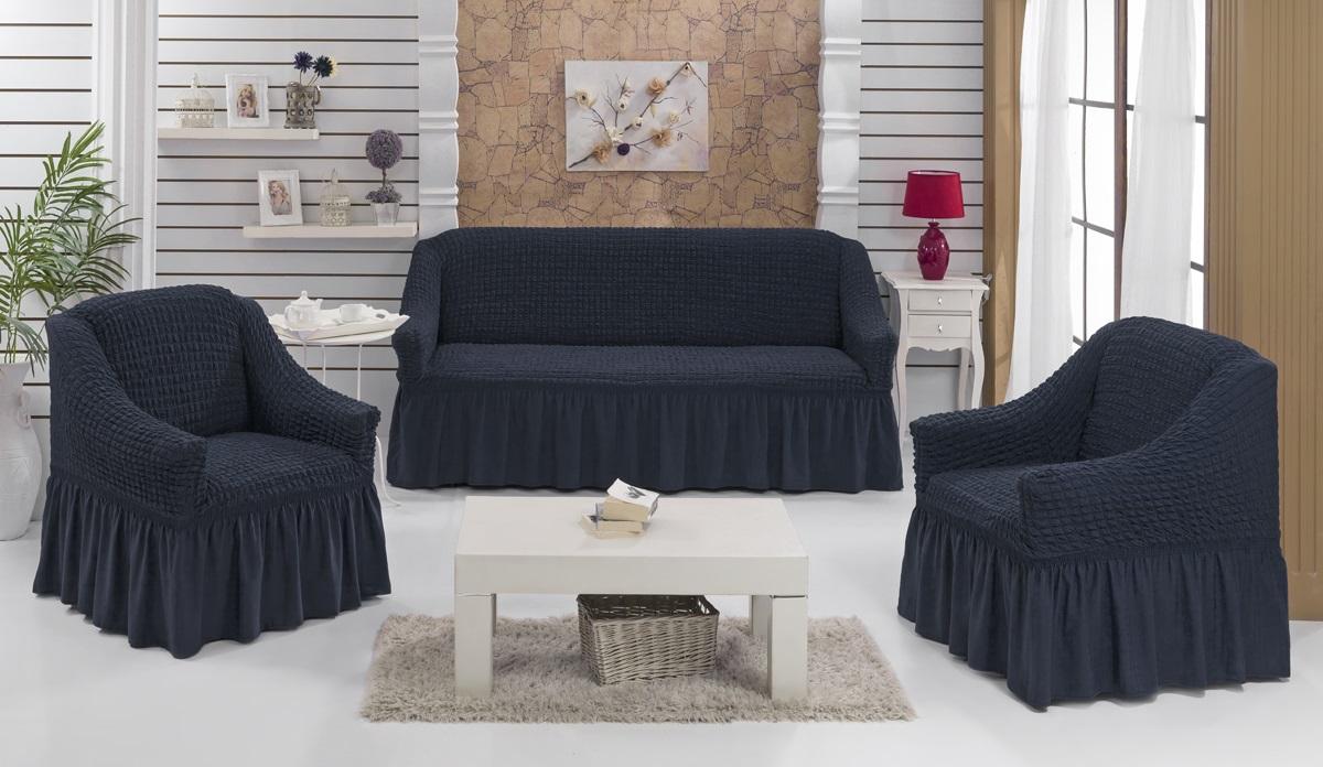 Набор чехлов для мягкой мебели Burumcuk Bulsan, цвет: черный, размер: стандарт, 3 шт1717/CHAR016Набор чехлов для мягкой мебели Burumcuk Bulsan придаст вашей мебели новый внешний вид. Каждый элемент интерьера нуждается в уходе и защите. В большинстве случаев потертости появляются на диванах и креслах. В набор входит чехол для трехместного дивана и два чехла для кресла. Чехлы изготовлены из 60% полиэстера и 40% хлопка. Такой материал прекрасно переносит нагрузки, долго не стареет и его просто очистить от грязи. Набор чехлов Karna Bulsan создан для тех, кто не планирует покупать новую мебель каждый год. Размер кресла: Ширина и глубина посадочного места: 70-80 см. Высота спинки от посадочного места: 70-80 см. Высота подлокотников: 35-45 см. Ширина подлокотников: 25-35 см. Высота юбки: 35 см. Размер дивана: Ширина посадочного места: 210-260 см. Глубина посадочного места: 70-80см. Высота спинки от посадочного места: 70-80 см. Ширина подлокотников: 25-35 см. Высота юбки: 35 см.