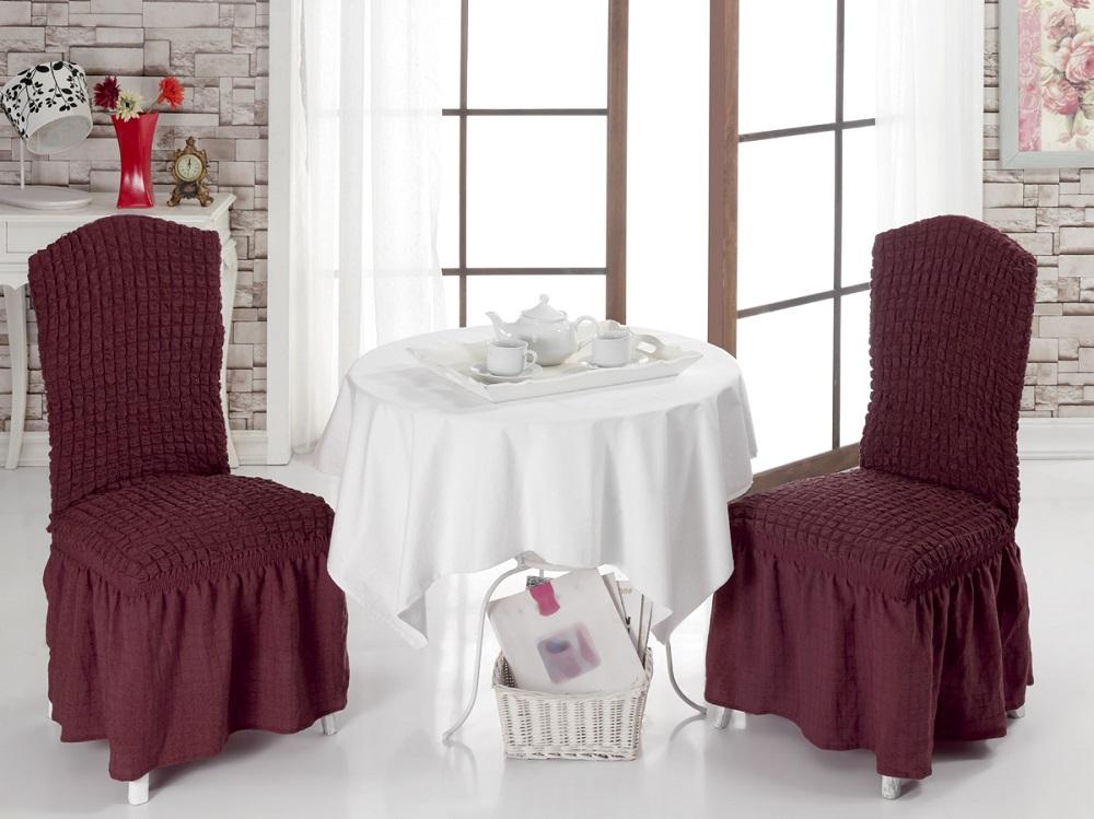 Набор чехлов для стульев Burumcuk, цвет: темно-бордовый, 2 шт1906/CHAR004Чехол на стул Burumcuk выполнен из высококачественного полиэстера и хлопка с красивым рельефом. Закрепляется на стул при помощи резинки и веревок. Предназначен для классического стула со спинкой. Такой чехол изысканно дополнит интерьер вашего дома. Ширина посадочных мест: 35 см. Длина посадочных мест: 35 см. Высота спинки от посадочного места: 50 см. Ширина спинки: 35 см. Высота юбки: 35 см.