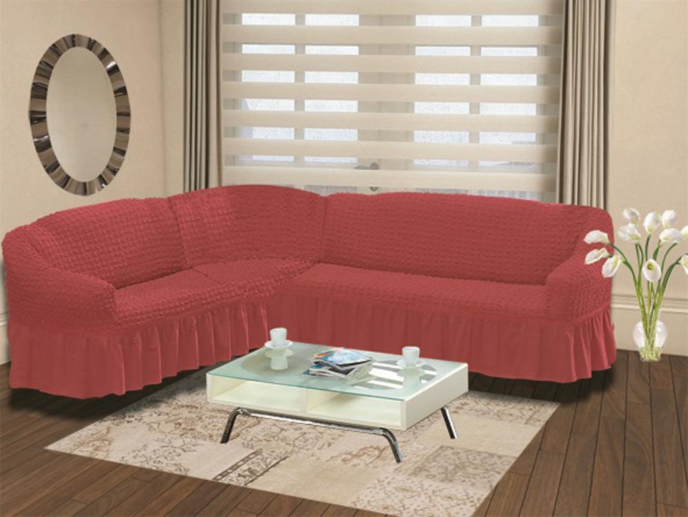 Чехол для дивана Burumcuk Bulsan, угловой, левосторонний, пятиместный, цвет: красный1907/CHAR006Чехол для дивана Burumcuk выполнен из высококачественного полиэстера и хлопка с красивым рельефом. Предназначен для углового дивана. Такой чехол изысканно дополнит интерьер вашего дома. Ширина посадочных мест короткой стороны: 140-190 см. Ширина посадочных мест длинной стороны: 210-260 см. Глубина посадочных мест: 70-80 см. Высота спинки от посадочного места: 70-80 см. Ширина подлокотников: 25-35 см. Высота юбки: 35 см. Тянется: + 30 см.