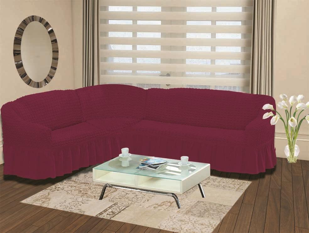 Чехол для дивана Burumcuk Bulsan, угловой, левосторонний, пятиместный, цвет: вишневый1907/CHAR013Чехол для дивана Burumcuk выполнен из высококачественного полиэстера и хлопка с красивым рельефом. Предназначен для углового дивана. Такой чехол изысканно дополнит интерьер вашего дома. Ширина посадочных мест короткой стороны: 140-190 см. Ширина посадочных мест длинной стороны: 210-260 см. Глубина посадочных мест: 70-80 см. Высота спинки от посадочного места: 70-80 см. Ширина подлокотников: 25-35 см. Высота юбки: 35 см. Тянется: + 30 см.