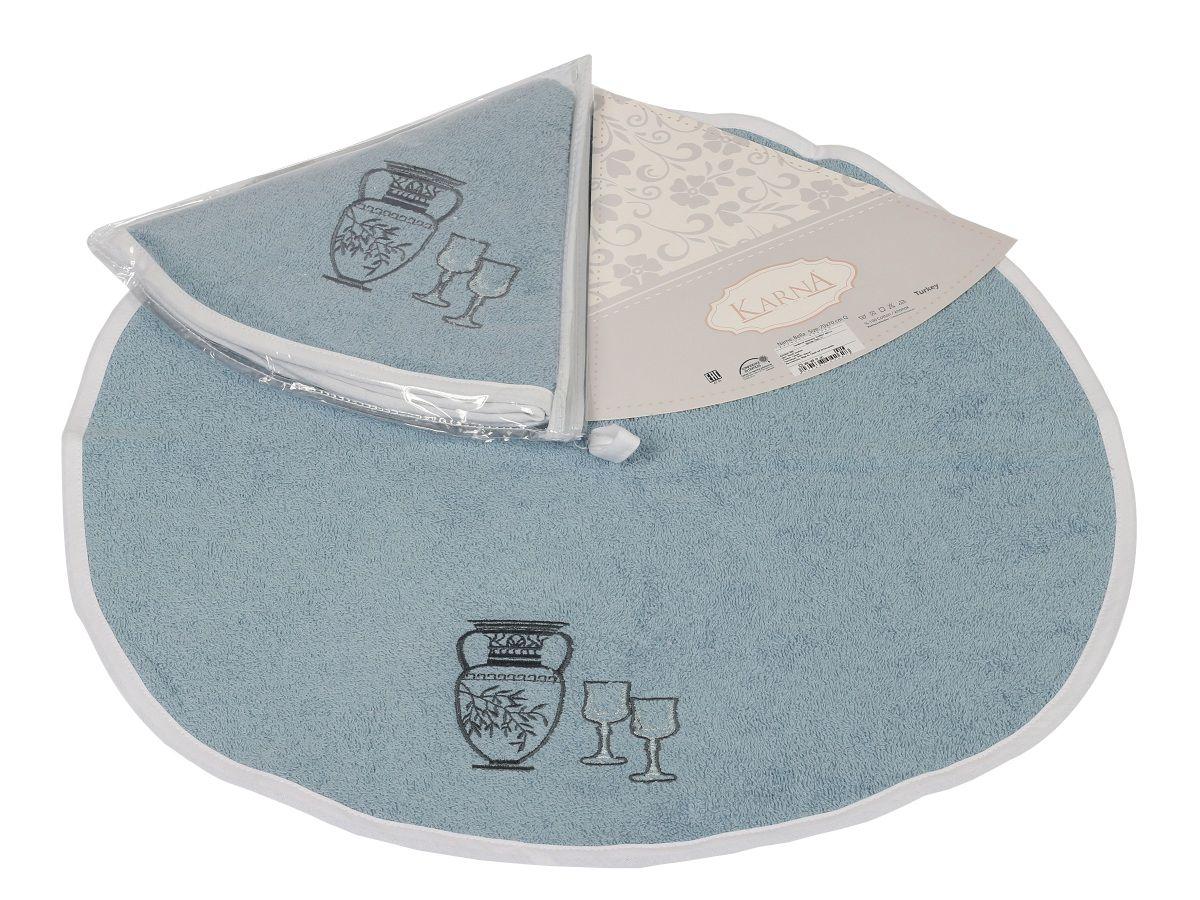 Салфетка кухонная Karna Bella, диаметр 50 см. 505/CHAR002VT-1520(SR)Кухонная салфетка Karna Bella выполнена из 100% хлопка и украшена оригинальным рисунком. Изделие отлично впитывает влагу, быстро сохнет, сохраняет яркость цвета и не теряет форму даже после многократных стирок. Салфетка очень практична и неприхотлива в уходе. Она создаст прекрасное настроение и украсит интерьер вашей кухни.Диаметр салфетки: 50 см.