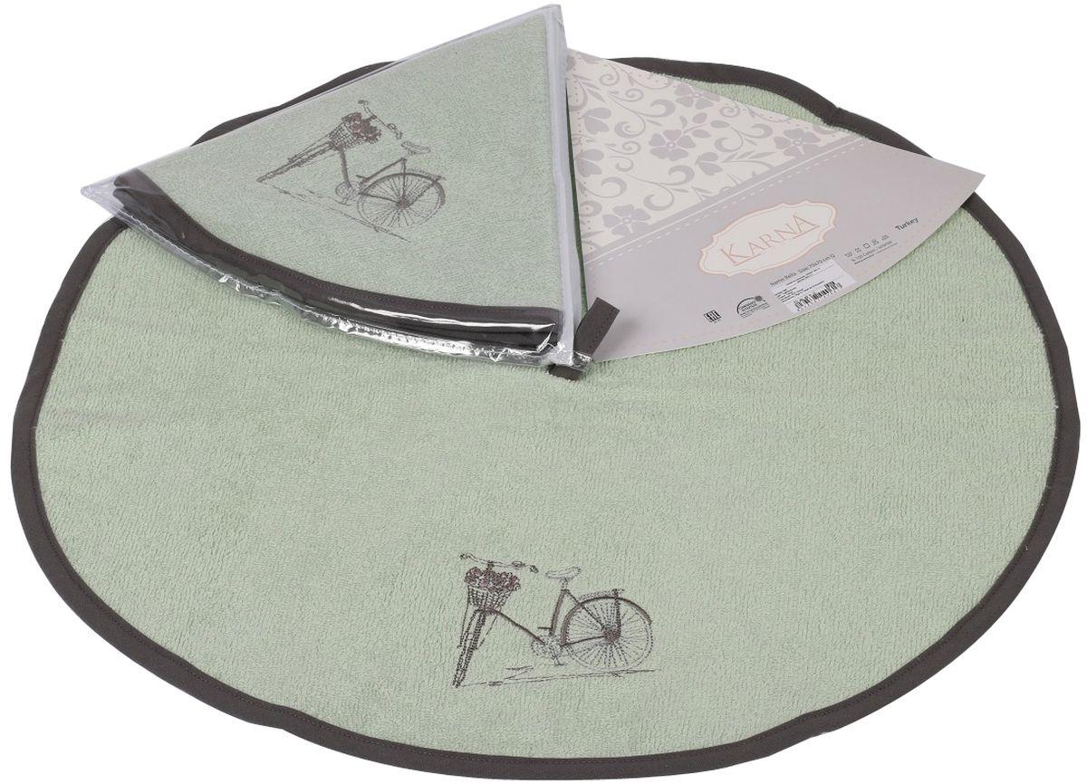 Салфетка кухонная Karna Bella, диаметр 50 см. 505/CHAR003VT-1520(SR)Кухонная салфетка Karna Bella выполнена из 100% хлопка и украшена оригинальным рисунком. Изделие отлично впитывает влагу, быстро сохнет, сохраняет яркость цвета и не теряет форму даже после многократных стирок. Салфетка очень практична и неприхотлива в уходе. Она создаст прекрасное настроение и украсит интерьер вашей кухни.Диаметр салфетки: 50 см.