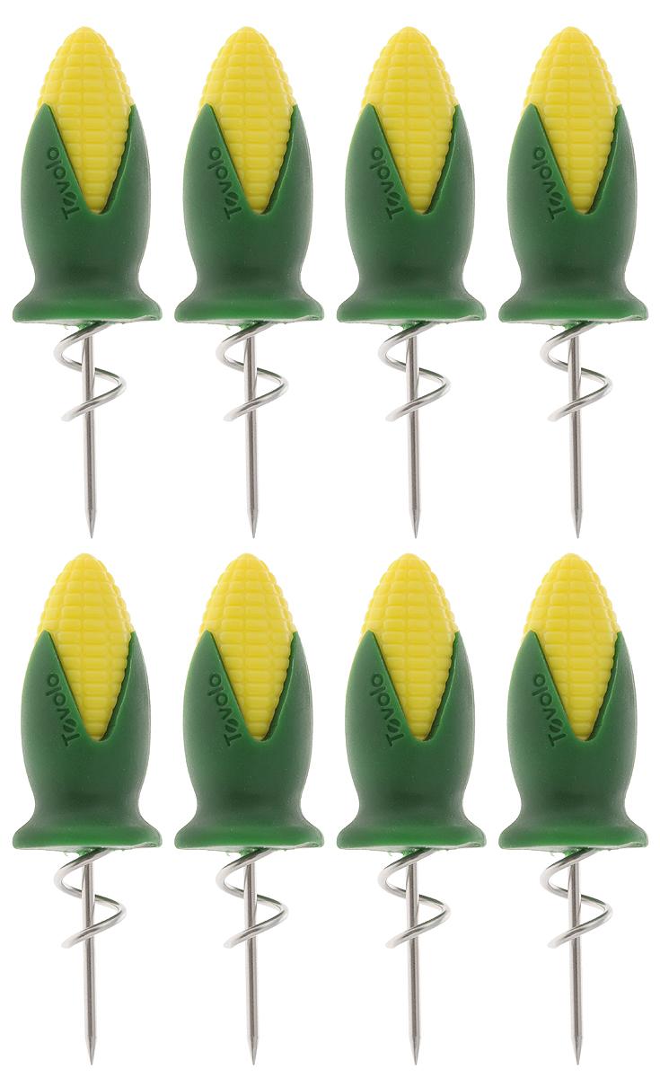 Набор держателей для кукурузы Tovolo, 8 шт80-14018Набор Tovolo состоит из 8 держателей, изготовленных из нержавеющей стали. Изделия идеально подойдут для употребления горячей кукурузы. Удобные ручки этих приспособлений, выполненные из прочного пластика, обеспечат надежное удерживание початков. Можно мыть в посудомоечной машине. Длина держателя: 8 см.