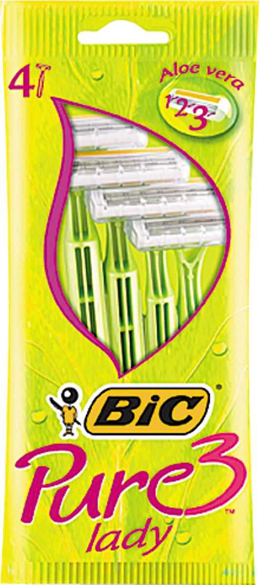 Bic Бритва Pure3 Lady, уп.4 шт872929Бритвенный станок с тремя лезвиями для женского бритья. Фиксированная головка. Хромо-полимерное покрытие. Увлажняющая полоска с Алоэ-Вера. Изогнутая и ребристая ручка.