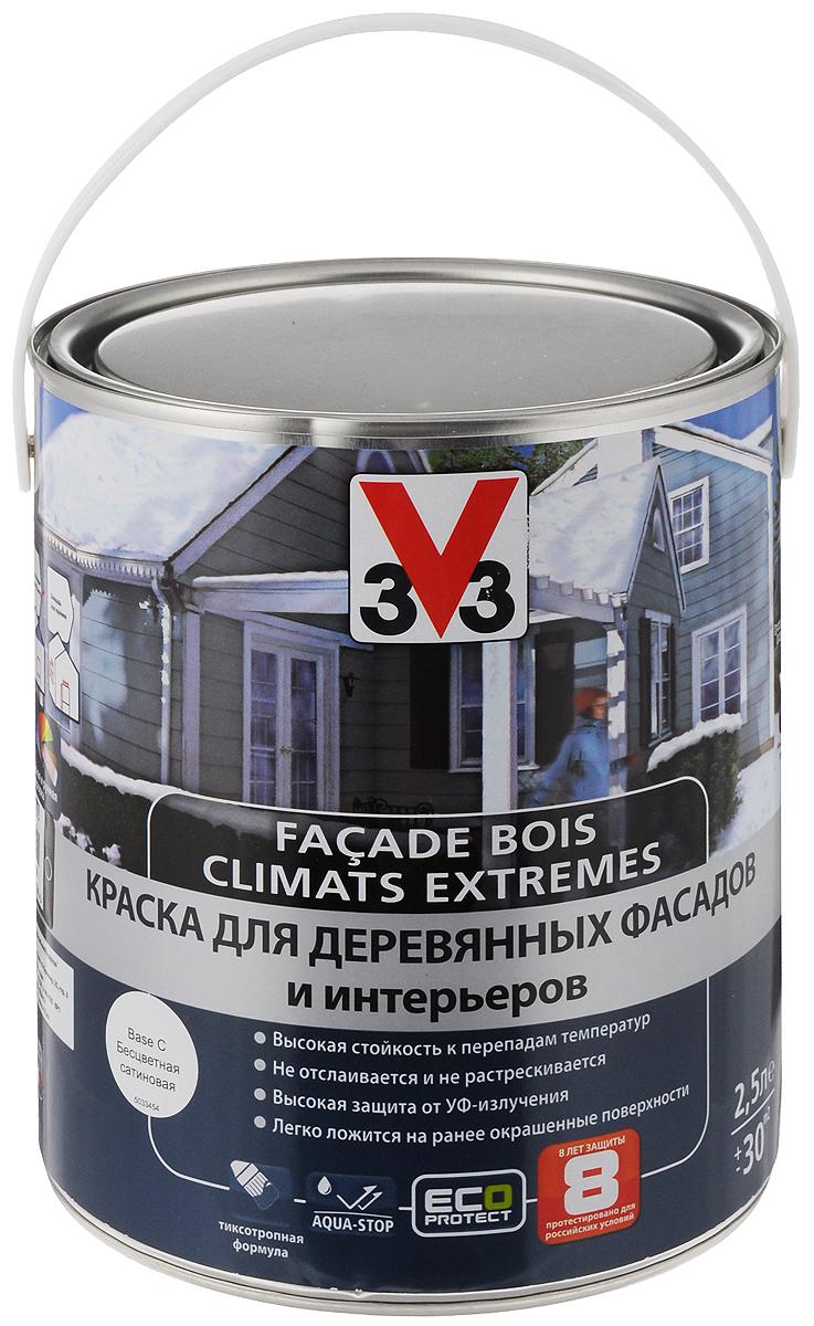 """Краска для деревянных фасадов и интерьеров V33 """"Climats Extrimes. База С"""", 2,5 л 110369"""
