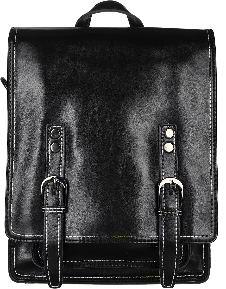 Рюкзак женский Janes Story, цвет: черный. HE8167-04BP-001 BKСтильный женский рюкзак Janes Story выполнен из натуральной кожи и оформлен металлической фурнитурой. Изделие содержит одно отделение, закрывающееся с помощью металлической застежки-молнии и клапана с магнитным замком. Внутри расположены: два накладных кармана для мелочей и два кармана на молнии. Сзади модель дополнена прорезным карманом на молнии, спереди под клапаном накладным открытым карманом. Рюкзак оснащен удобными лямками регулируемой длины, а также петлей для подвешивания. Оригинальный аксессуар позволит вам завершить образ и быть неотразимой.