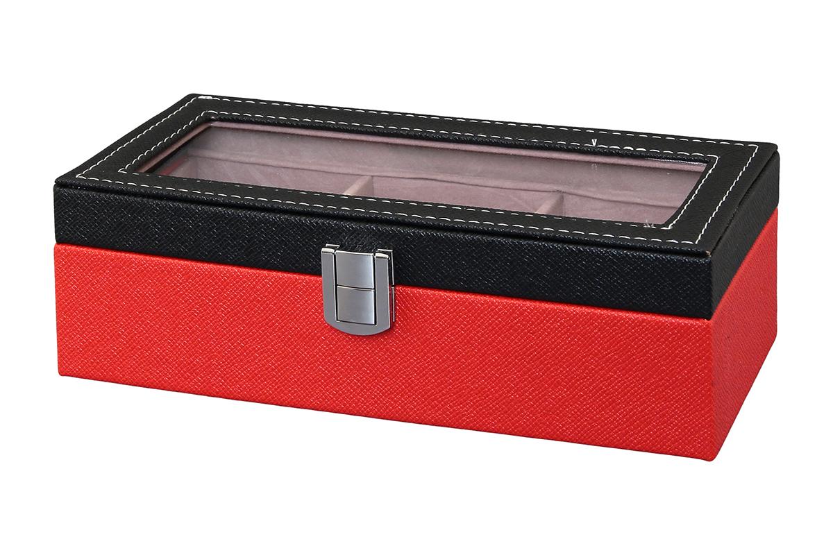 Шкатулка для хранения часов El Casa, цвет: черный, красный, 23 х 10 х 8 см171461Шкатулка El Casa, выполненная из МДФ, предназначена для хранения часов. Внутри шкатулки 3 секции с подушечками. Снаружи шкатулка обтянута искусственной кожей с декоративным тиснением. Шкатулка закрывается на замок-защелку. Крышка изделия оформлена прозрачной вставкой. Классический элегантный дизайн делает такую шкатулку эффектным подарком как мужчине, так и женщине. Если вы привыкли бережно и аккуратно обращаться с каждой из своих вещей, то наверняка согласитесь, что прикроватная тумбочка или стеклянная полочка в ванной - не идеальное место для хранения наручных часов: их можно нечаянно уронить, а поутру в спешке и вовсе забыть, где они вчера были сняты. Простым и эффектным решением в этом случае станет элегантная шкатулка для часов. Изнутри она покрыта мягким и приятным на ощупь материалом. Он убережет помещенные в шкатулку часы от пыли, царапин и прочих механических повреждений.