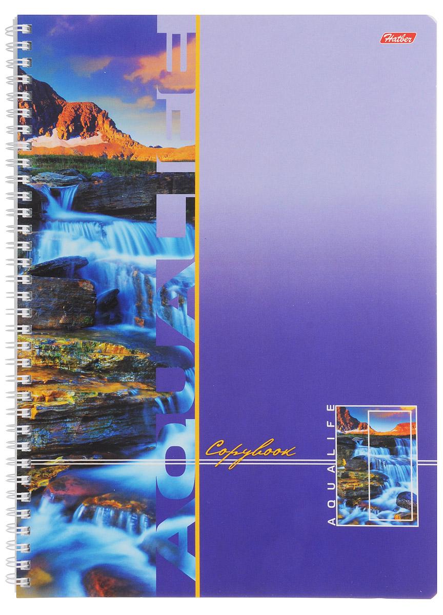 Hatber Тетрадь Аквалайф 96 листов в клетку цвет фиолетовый hatber тетрадь полосатый мир 96 листов в линейку цвет оранжевый