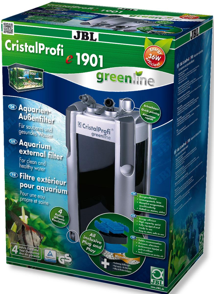 Экономичный внешний фильтр для аквариумов JBL CristalProfi e1901 greenline от 200 до 800 л, до 150 см длиной, 1900 л/ч, с наполнителями и аксессуарамиJBL6022200JBL CristalProfi e1901 greenline - Экономичный внешний фильтр для аквариумов от 200 до 800 литров, до 150 см. длиной, 1900 л/ч, с наполнителями и аксессуарами