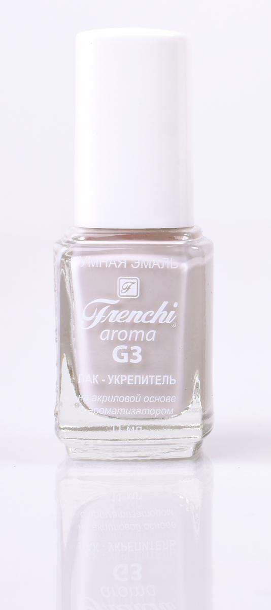 Frenchi aroma G3 Лак-укрепитель на акриловой основе № 10, 11 млRA-Лак на акриловой основе Frenchi G3 – это стойкость и безупречность Вашего маникюра в течение 7 дней.Лак на акриловой основе – это идеальный вариант для деловой женщины, в нашем современном мире, что позволяетженщине тратить меньше времени на посещение салоновкрасоты.
