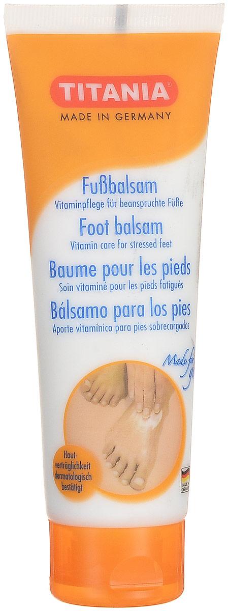 Titania Бальзам для ног, 75 мл4008576053037Крем бальзам по уходу за кожей ступней ног Titania, для профессионального и домашнего использования, рекомендуется применять как средство для ухода за кожей ступней ног, подвергшейся негативному воздействию новой обуви. Его применение обеспечит не только уменьшение уже существующих мозолей, но и предотвратит появление волдырей и новых огрубелостей в местах сдавливания. Входящие в состав бальзама витаминные комплексы, ценные масла и дезодоранты обеспечат мягкое восстанавливающее и защитное действие на кожу ступней ног.