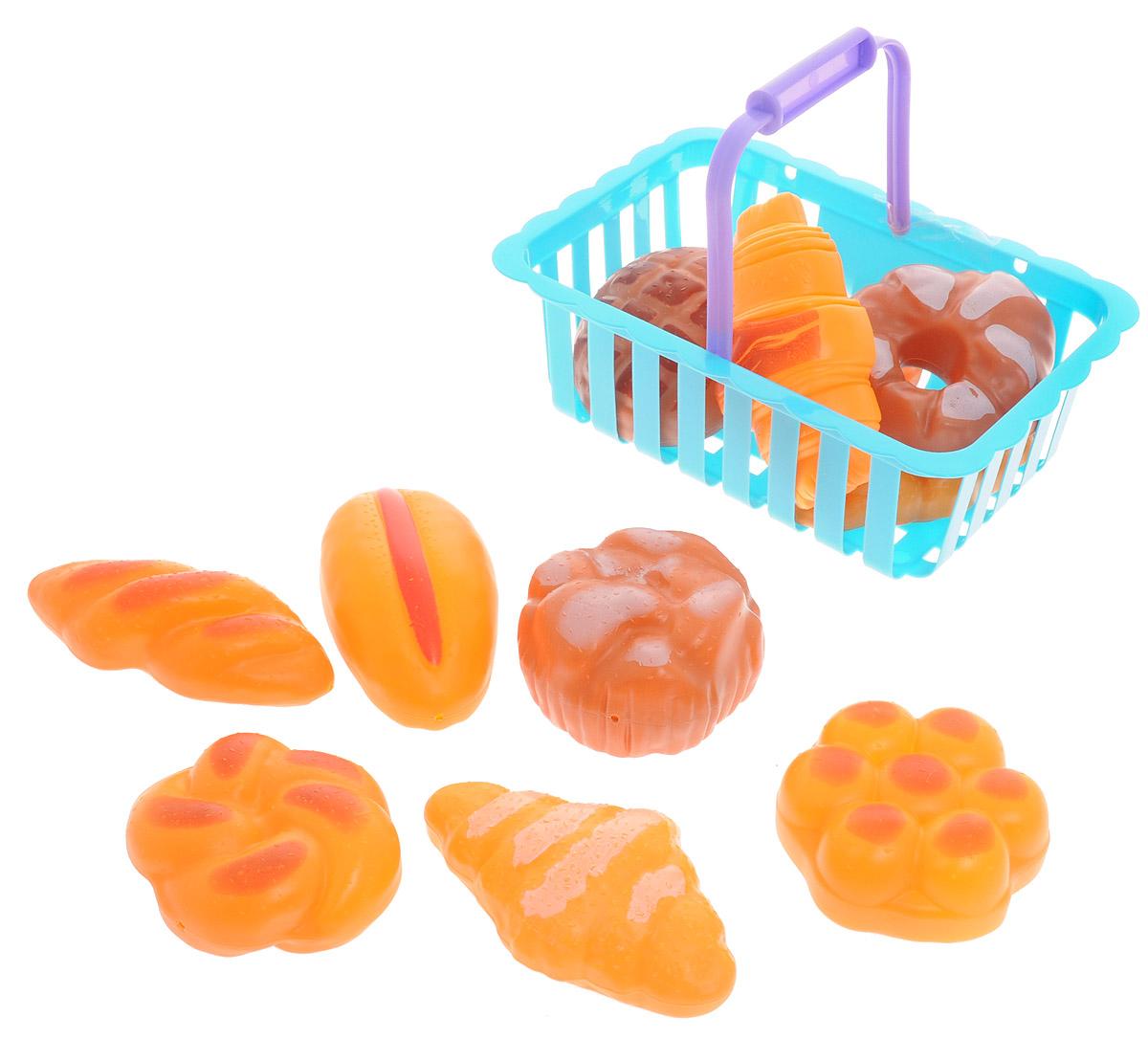ABtoys Игрушечный набор продуктов в корзине 12 предметов цвет голубой