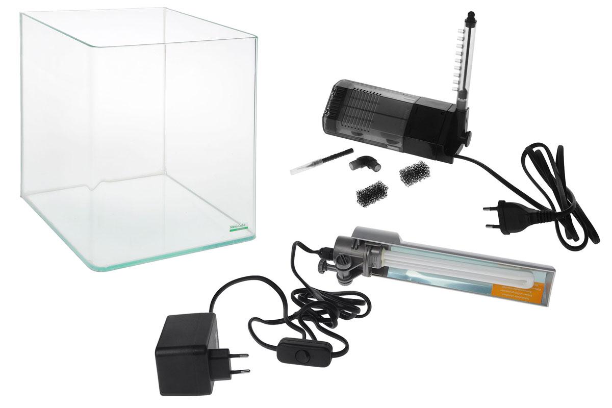 Комплект Dennerle NanoCube Complete, 20 лFS-91909Комплект Dennerle NanoCube Complete включает в себя аквариум, стеклянную крышку, черный фон, коврик, фильтр Dennerle Nano Clean и светильник. Аквариум выполнен из прочного стекла.Объем аквариума: 20 л.Размер аквариума: 25 х 25 х 30 см.Мощность светильника: 11 Вт.Температура света светильника: 6000 К.