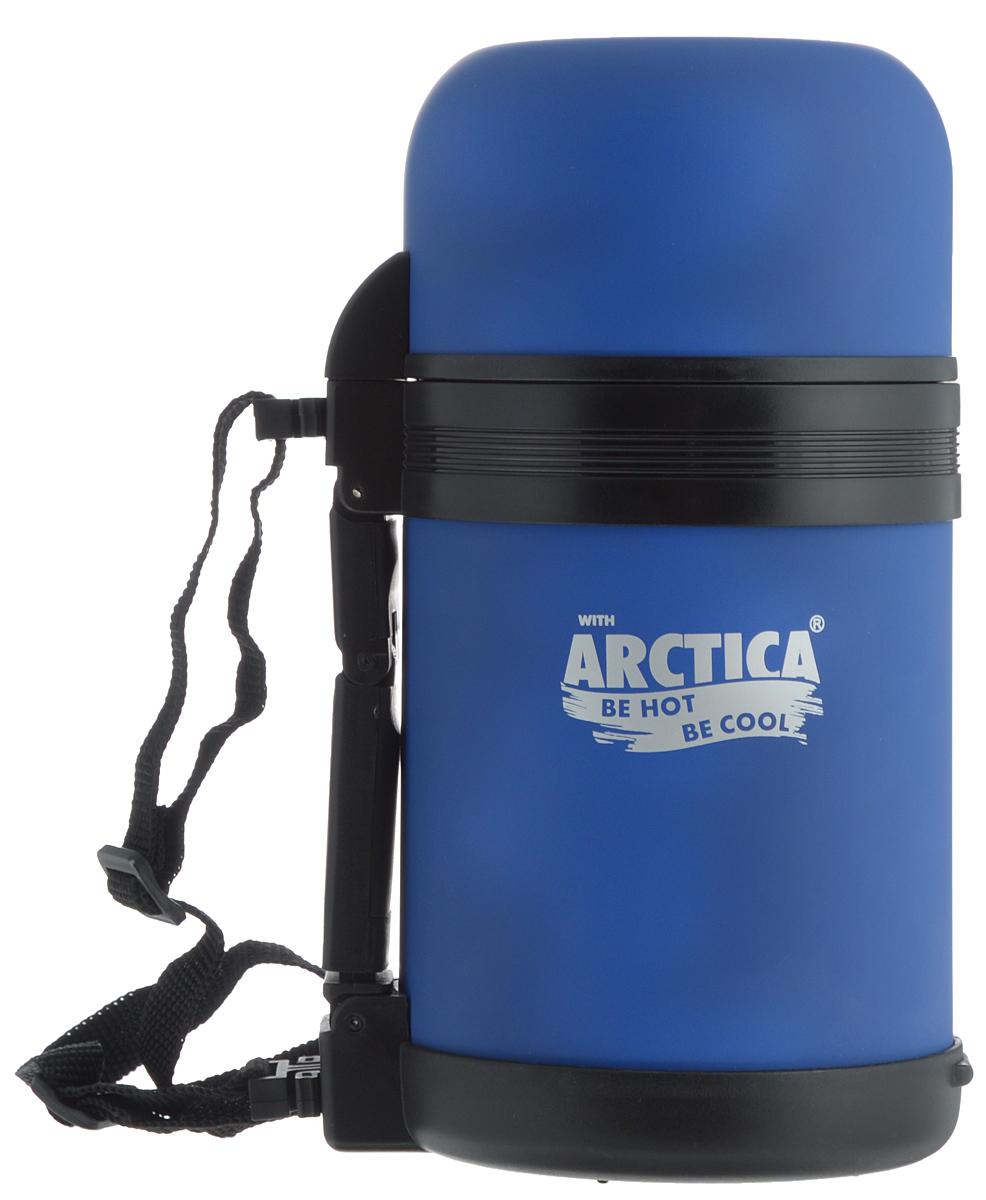 Термос Арктика, с чашкой, цвет: синий, 0,8 л115510Термос Арктика с широким горлом сохранит вашу еду или напитки горячими в течение долгого времени. Корпус выполнен из высококачественной нержавеющей стали, покрытой специальным резиновым напылением. Резиновое напыление является дополнительным термоизолирующим слоем. Крышку можно использовать в качестве стакана, так же есть дополнительная чашка и удобный ремешок для переноски. Пробка термоса состоит из двух составных частей: узкая для напитков, широкая для еды. Он составит компанию за обеденным столом, улучшит настроение и поднимет аппетит, где бы этот стол не находился. Пусть даже в глухом отсыревшем лесу, где даже развести костер будет стоить немалого труда. Забудьте об этих неудобствах - вместительный и компактный термос Арктика с радостью послужит вам в качестве миниатюрной полевой кухни, поднимет настроение нарядным внешним видом и вкусной домашней едой.Диаметр горлышка для напитков: 4,2 см.Диаметр горлышка для еды: 7,5 см.Диаметр основания: 10,7 см.Высота (с учетом крышки): 21 см.Время сохранения температуры (холодной и горячей): 18 часов.