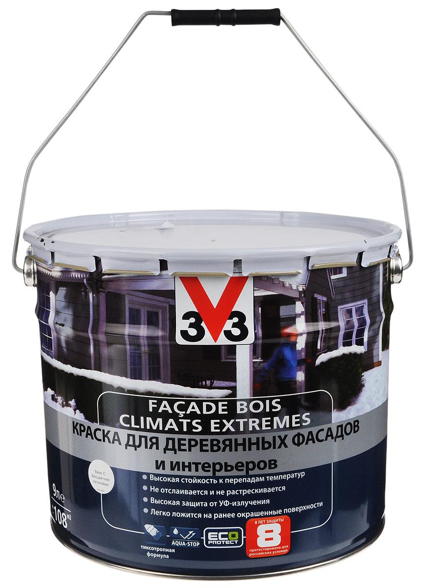 """Краска для деревянных фасадов и интерьеров V33 """"Climats Extrimes. База С"""", 9 л 110385"""