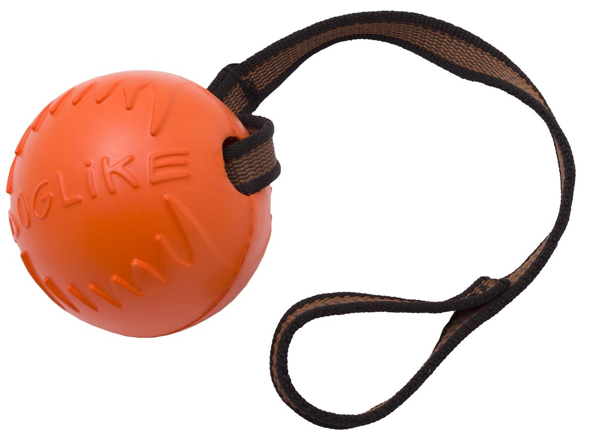 Игрушка для животных Doglike Мяч с лентой, диаметр 8,5 смDM-7345Сохраняет эластичность -50 +50,Усиленная формула материала,Не тонет в воде,Безопасно для зубов собаки,Экологически чистый материал,Производство Россия Длина ленты: 70 см