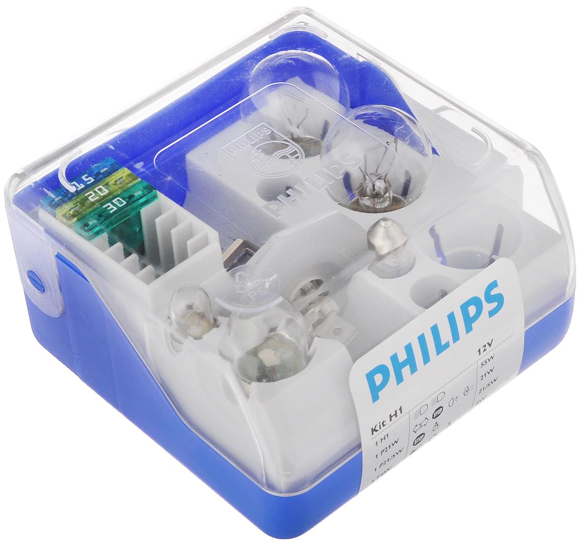 Набор автомобильных ламп Philips, 9 предметов52731430В комплект Philips входят лампы для автомобильных фар, обеспечивающие на 30% больше света. Лампы излучают мощный точно направленный луч света и характеризуются высокой светоотдачей, увеличивая видимость вашего автомобиля на дороге. Состав набора: 1 H1: 55 Вт. 1 P21W: 21 Вт. 1 P21/W: 21/5 Вт. 1 T4W: 4 Вт. 1 R5W: 5 Вт. 1 C5W: 5 Вт. 3 предохранителя: 15 А, 20 А, 30 А.