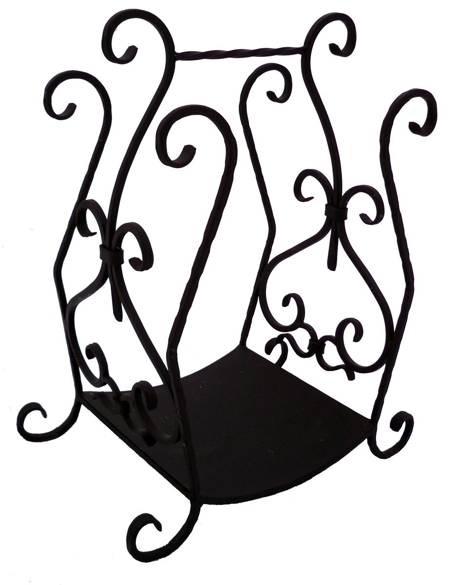 Дровница Grillkoff Ажур214Дровница – «Ажур» вес 8,01кг. Если в Вашем доме классический интерьер – дровница «Ажур» создаст неповторимый акцент рядом с камином, а наличие кованых элементов и их форма заметно выделят ее среди аналогов. Удобная ручка сверху позволит Вам без труда переместить дровницу внутри помещения. Дровница выполнена методом ковки из квадратного прута толщиной 12 мм и покрыта высокотемпературной краской церта.