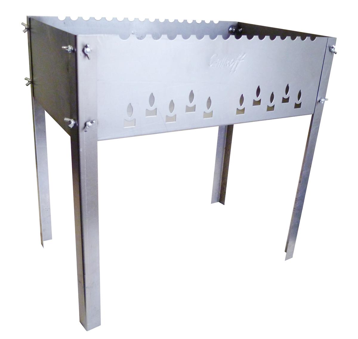 Мангал Max с барашками сталь нержавеющая 1 мм с 6 шампурами в сумкеRUC-01Мангал Max (500х500х300 мм. из нержавеющей стали 1 мм) с барашками с волной, с логотипом, с 6 шампурами в сумке Мангал без усилий собирается для применения.Конструкция позволяет с комфортом готовить на мангале.Материал,из которого изготовлен мангал - нержавеющая стал, шампура - нержавеющая сталь.