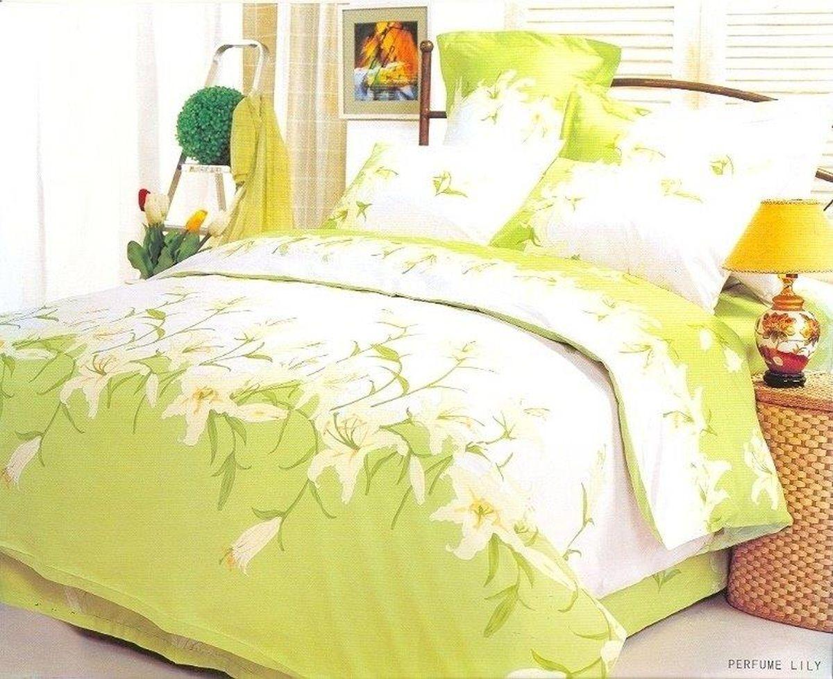Комплект белья Le Vele Perfume Lily, 2-спальный, наволочки 50х70740/80Комплект постельного белья Le Vele Perfume Lily, выполненный из сатина (100% хлопка), создан для комфорта и роскоши. Комплект состоит из пододеяльника, простыни и 4 наволочек. Постельное белье оформлено оригинальным рисунком. Пододеяльник застегивается на кнопки, что позволяет одеялу не выпадать из него. Сатин - хлопчатобумажная ткань полотняного переплетения, одна из самых красивых, прочных и приятных телу тканей, изготовленных из натурального волокна. Благодаря своей шелковистости и блеску сатин называют хлопковым шелком.