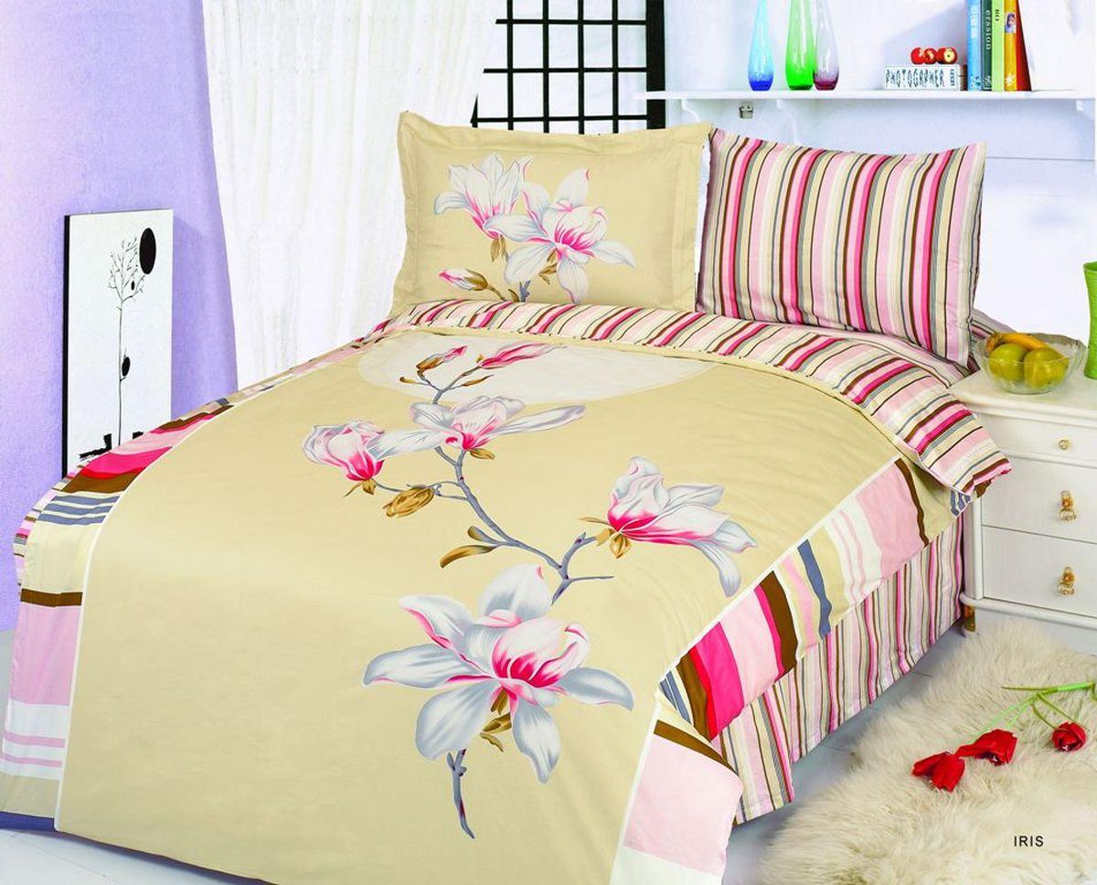 Комплект белья Le Vele Iris, 1,5-спальный, наволочки 50х70741/15Комплект постельного белья Le Vele Iris, выполненный из сатина (100% хлопка), создан для комфорта и роскоши. Комплект состоит из пододеяльника, простыни и 2 наволочек. Постельное белье оформлено цветочным рисунком. Пододеяльник застегивается на кнопки, что позволяет одеялу не выпадать из него. Сатин - хлопчатобумажная ткань полотняного переплетения, одна из самых красивых, прочных и приятных телу тканей, изготовленных из натурального волокна. Благодаря своей шелковистости и блеску сатин называют хлопковым шелком.