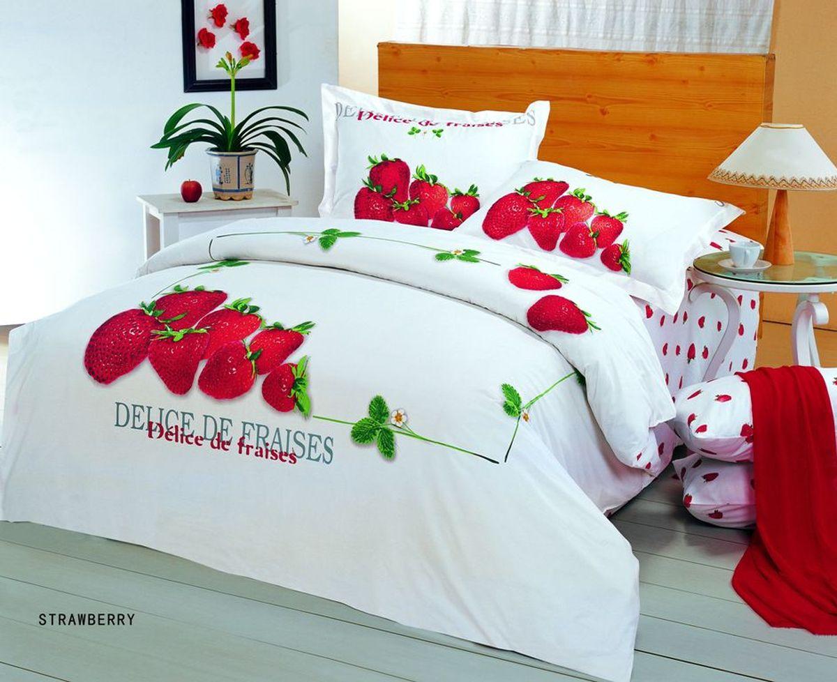 Комплект белья Le Vele Strawberry, 1,5-спальный, наволочки 50х70741/22Комплект постельного белья Le Vele Strawberry, выполненный из сатина (100% хлопка), создан для комфорта и роскоши. Комплект состоит из пододеяльника, простыни и 2 наволочек. Постельное белье оформлено оригинальным рисунком. Пододеяльник застегивается на кнопки, что позволяет одеялу не выпадать из него. Сатин - хлопчатобумажная ткань полотняного переплетения, одна из самых красивых, прочных и приятных телу тканей, изготовленных из натурального волокна. Благодаря своей шелковистости и блеску сатин называют хлопковым шелком.