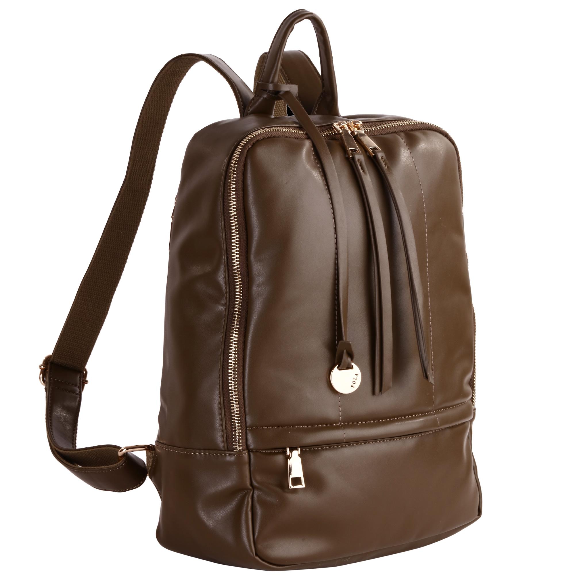Рюкзак женский Pola, цвет: хаки. 44124412Стильный женский рюкзак Pola - очень практичен в повседневном использовании. Основное отделение закрывается на металлическую молнию. Внутри - два кармана на молниях и два открытых кармашка. Снаружи – карманы на молниях сзади и спереди рюкзака. Лямки регулируются по длине. Эта универсальная модель идеально подойдет как для путешествий, так и для учебы или работы, а так же позволит вам взять с собой все самое необходимое.