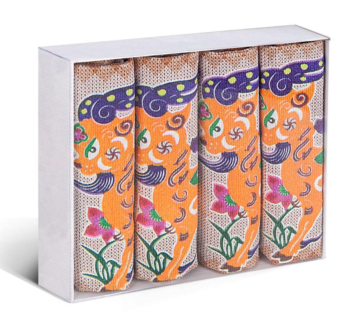Набор кухонных полотенец Soavita, цвет: оранжевый, белый, 38 х 64 см, 4 шт78932Набор Soavita состоит из 4 вафельных полотенец. Изделия выполнены из микрофибры и оформлены яркими, оригинальными вышивками. Полотенца используются для протирки различных поверхностей, также широко применяются в быту. Такой набор станет отличным вариантом для практичной и современной хозяйки. Перед использованием постирать при температуре не выше 40 градусов.