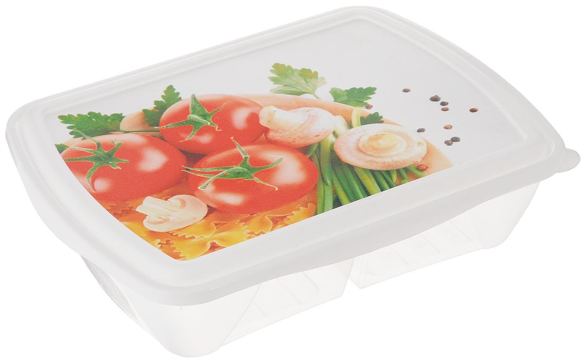 Контейнер двухсекционный Phibo Рондо. Помидоры и грибы, 1,25 лС11737_Контейнер Phibo Рондо. Помидоры и грибы изготовлен из пищевого пластика, устойчивого к высоким температурам. Крышка плотно закрывается, дольше сохраняя еду свежей и вкусной. Контейнер снабжен 2 секциями, которые позволяют хранить сразу несколько продуктов или блюд. Такой контейнер удобно брать с собой на работу, учебу, пикник или просто использовать для хранения продуктов в холодильнике. Подходит для разогрева пищи в микроволновой печи и для заморозки в морозильной камере. Можно мыть в посудомоечной машине.
