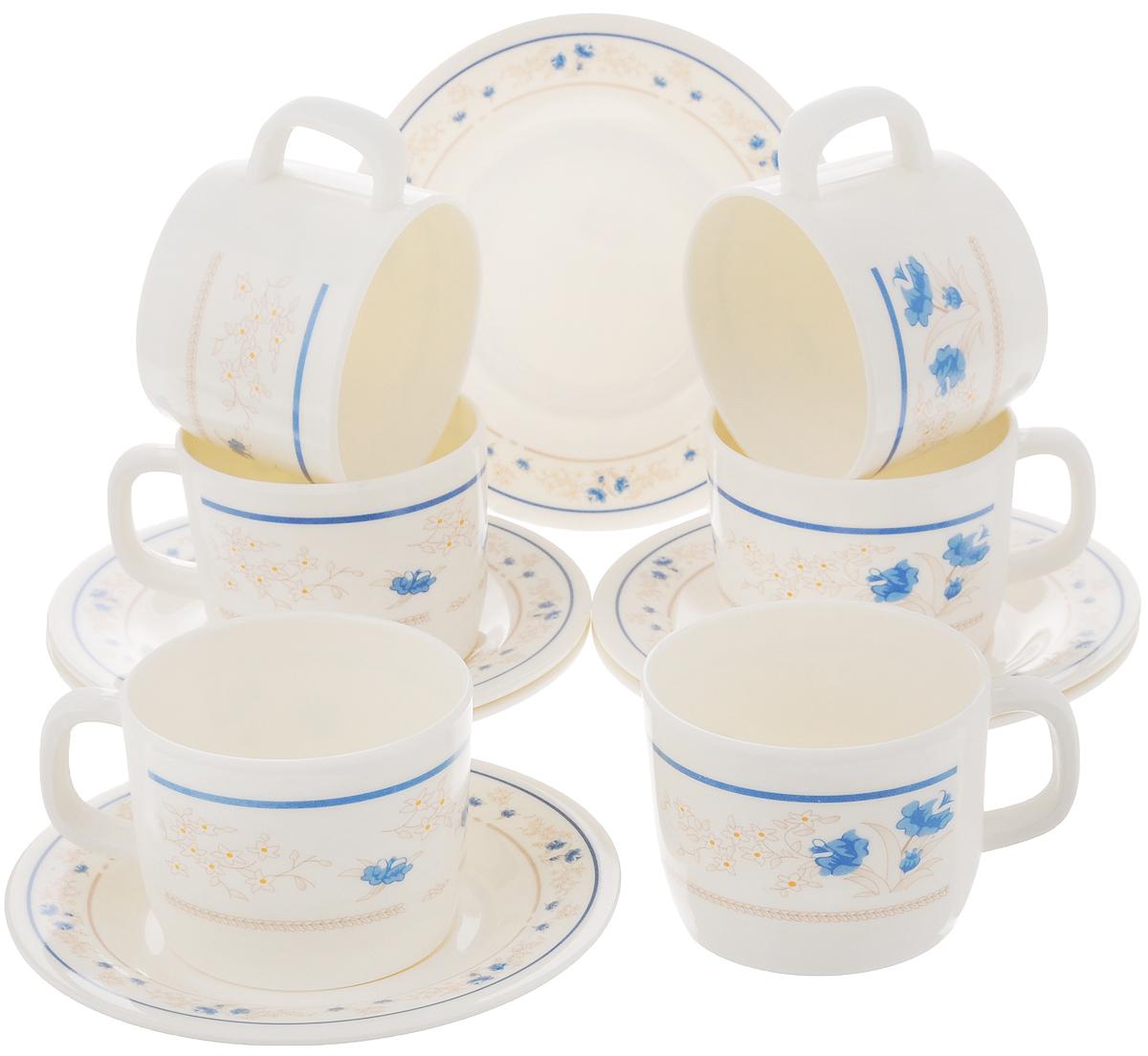 Набор чайный Calve, цвет: белый, синий, 12 предметов115510Чайный набор Calve состоит из шести чашек и шести блюдец, выполненных из меламина. Изделия оформлены ярким рисунком. Изящный набор эффектно украсит стол к чаепитию и порадует вас функциональностью и ярким дизайном. Можно мыть в посудомоечной машине.Диаметр чашки (по верхнему краю): 8 см.Высота чашки: 6 см.Объем чашки: 240 мл. Диаметр блюдца: 14,5 см.Высота блюдца: 1,5 см.