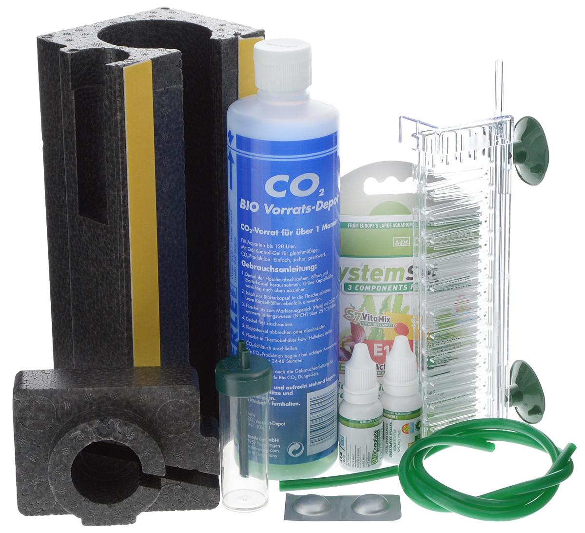 Установка в аквариум Dennerle BIO 120 CO2 Profi KomplettSet, для подачи СО20120710Установка в аквариум Dennerle BIO 120 CO2 Profi KomplettSetпредназначена для подачи СО2 в аквариум. Подходит для аквариумов объемов до 120 л. Комплект включает в себя:- Реакционный баллон для производства СО2 сконтролируемым гелем;- Стартовая капсула;- Термоконтейнер;- Реактор СО2 Dennerle Micro-Flipper;- Шланг для CO2;- Счетчик пузырьков;- Комплекс удобрений Dennerle PerfectPlant.