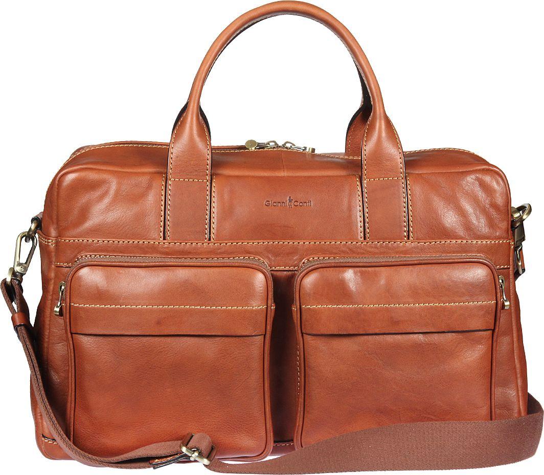 Бизнес-сумка мужская Gianni Conti, цвет: рыжий. 911278911278Бизнес-сумка мужская Gianni Conti выполнена из натуральной кожи. Модель закрывается на двустороннюю молнию. Внутри большой отдел, в котором отделение для планшета, закрывающееся клапаном на липучке, карман на молнии, два кармашка для мелких предметов, держатель для авторучки. Снаружи на передней стенке два кармана на молнии, два кармашка на магнитной кнопке, на задней стенке - карман на молнии. Сумка оснащена съемным регулируемым плечевым ремнем на карабинах.