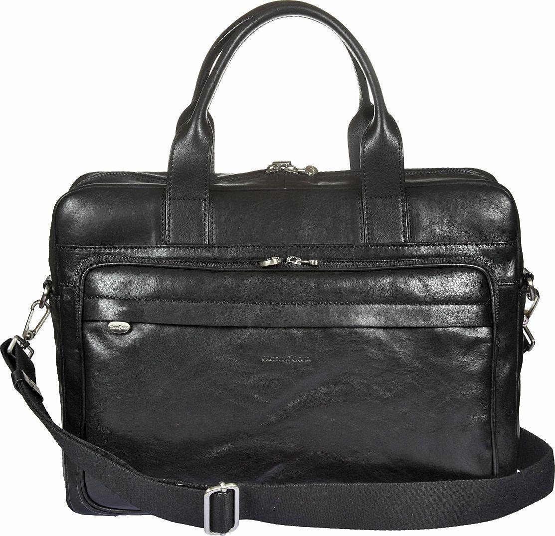 Бизнес-сумка мужская Gianni Conti, цвет: черный. 911276911276Мужская бизнес-сумка Gianni Conti выполнена из натуральной кожи. Модель закрывается на двустороннюю молнию. Внутри отдел, в котором карман на молнии, имеется отделение для планшета, которое закрывается клапаном на липучке, а также два кармашка для мелких предметов, держатель для авторучки. Снаружи на передней стенке два кармана на молнии, на задней стенке - карман на молнии. Сумка оснащена съемным регулируемым плечевым ремнем на карабинах и карманом с молнией для крепления на ручку чемодана.