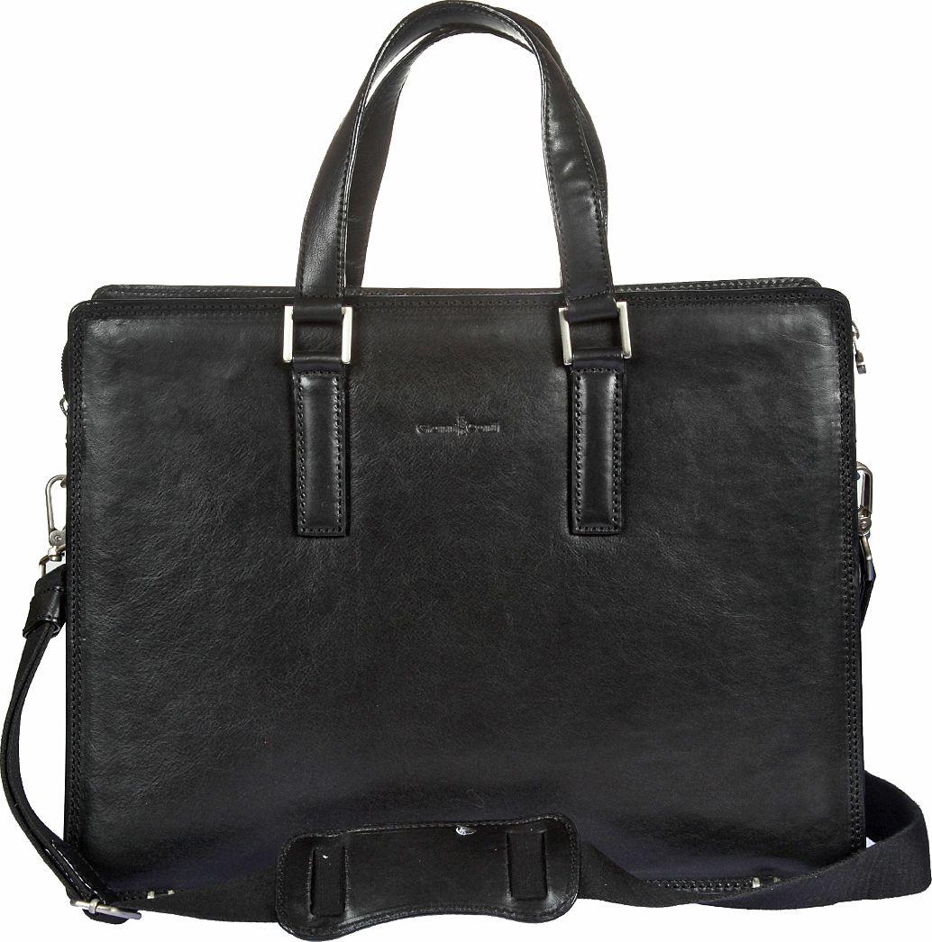 Бизнес-сумка мужская Gianni Conti, цвет: черный. 911248859425-002Бизнес-сумка мужская Gianni Conti выполнена из натуральной кожи. Модель закрывается на двустороннюю молнию. Внутри три отдела, один из них на молнии, имеется отделение для планшета, закрывающееся клапаном на липучке, а также карман на молнии, два кармашка для мелких предметов, держатель для авторучки. Снаружи на задней стенке карман на магнитной кнопке. Сумка оснащена съемным регулируемым плечевым ремнем на карабинах.