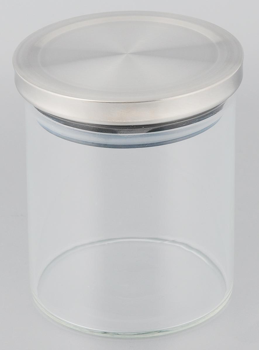 Банка для сыпучих продуктов Gotoff , с крышкой, цвет: стальной, 600 мл8254Банка Gotoff, выполненная из высококачественного стекла, станет незаменимым помощником на кухне. В ней будет удобно хранить разнообразные сыпучие продукты, такие как кофе, крупы, сахар, соль или специи. Прозрачная банка позволит следить, что и в каком количестве находится внутри. Банка Gotoff надежно закрывается крышкой, которая снабжена резиновым уплотнителем для лучшей фиксации. Такая банка не только сэкономит место на вашей кухне, но и украсит интерьер. Объем: 600 мл. Диаметр банки: 9,5 см. Высота банки: 11 см.