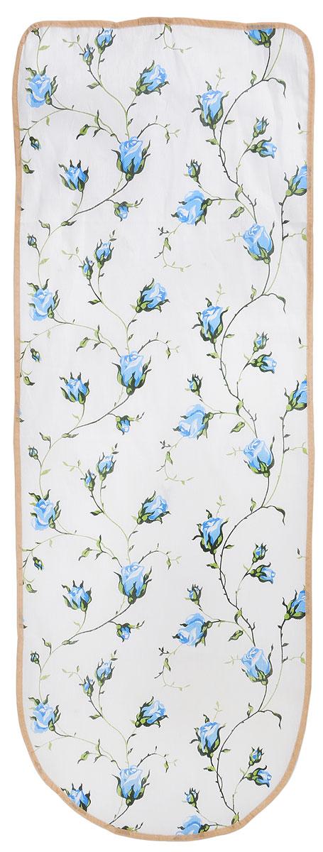 Чехол для гладильной доски Detalle Синие цветы, 125 х 47 смЕ1301_белый, синие цветыЧехол для гладильной доски Detalle Синие цветы, выполненный из хлопка с подкладкой из мягкого войлокообразного полотна (ПЭФ), предназначен для защиты или замены изношенного покрытия гладильной доски. Чехол снабжен стягивающим шнуром, при помощи которого вы легко отрегулируете оптимальное натяжение чехла и зафиксируете его на рабочей поверхности гладильной доски. Из войлокообразного полотна вы можете вырезать подкладку любого размера, подходящую именно для вашей доски. Этот качественный чехол обеспечит вам легкое глажение. Он предотвратит образование блеска и отпечатков металлической сетки гладильной доски на одежде. Войлокообразное полотно практично и долговечно в использовании. Размер чехла: 125 x 47 см. Максимальный размер доски: 120 х 42 см. Размер войлочного полотна: 130 х 52 см.