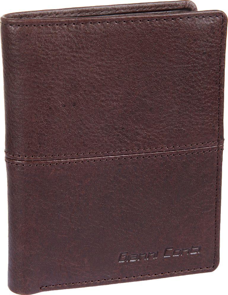 Портмоне мужское Gianni Conti, цвет: темно-коричневый. 1137117EA16-11154_711Мужское портмоне Gianni Conti выполнено из натуральной кожи. Модель раскладывается пополам. Внутри два отдела для купюр, карман для мелочи, закрывается клапаном на кнопке, потайной карман, сетчатый карман для пропуска, десять кармашков для пластиковых карт.
