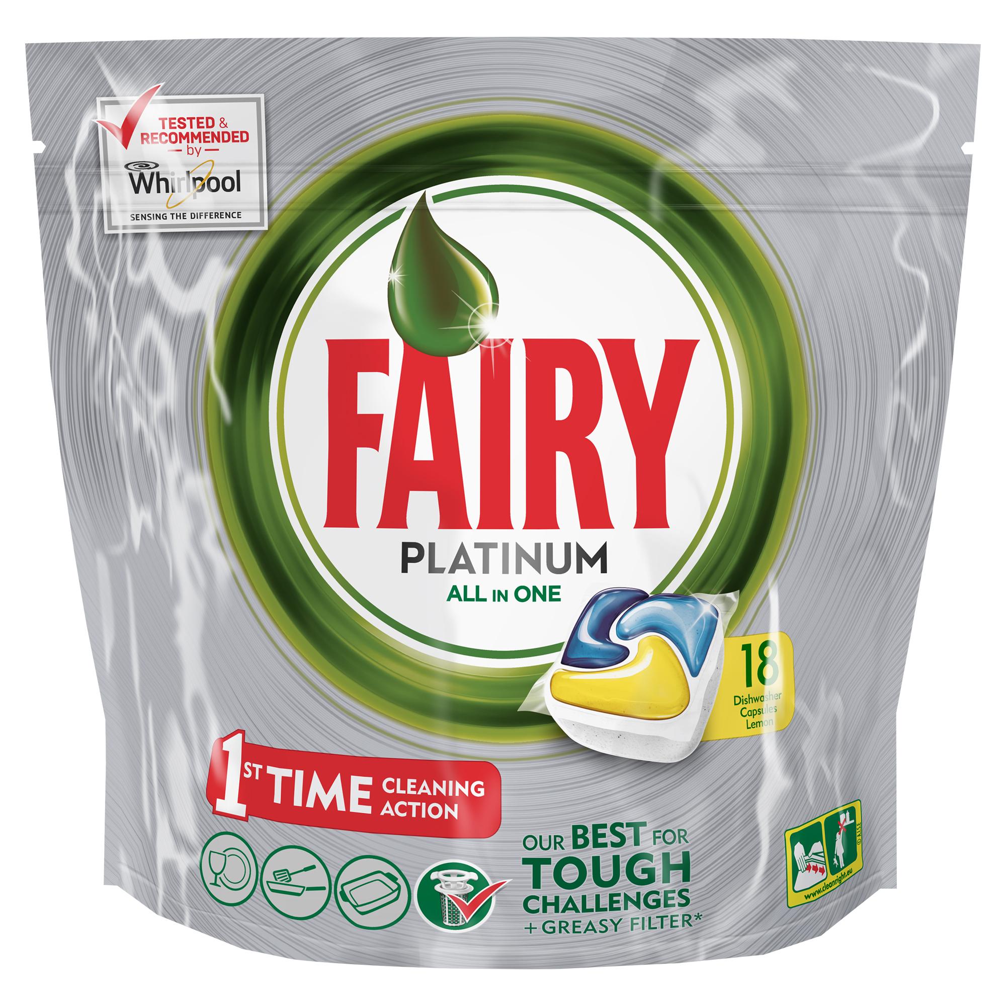 Капсулы для посудомоечной машины Fairy Platinum Лимон, 18 шт790009Капсулы для посудомоечной машины Fairy Platinum All in One идеально отмоют посуду с 1-го раза и безупречно справятся с любыми сложными загрязнениями – от засохшего и пригоревшего жира до пятен от чая. С новыми капсулами Fairy Platinum ваша посуда будет сиять благодаря специальной формуле с усилителем блеска. Теперь вы можете готовить что угодно и быть уверенным, что ваша машинка с легкостью справится с грязной посудой благодаря Fairy Platinum. Капсула растворяется гораздо быстрее, чем другие таблетки для посудомоечной машины, и поэтому начинает действовать немедленно. Кроме того, капсулы Fairy очень просты в использовании – просто поместите их в посудомоечную машину (не нужно распаковывать). Сила Fairy Platinum теперь и для посудомоечных машин! Лучшая формула Fairy для идеально чистой посуды с 1-го раза. Легко справится даже с засохшей и пригоревшей грязью. Капсулы для посудомоечной машины Fairy Platinum All in One dishwasher tablets Такой сильный, что очистит даже фильтр от посудомоечной машины. С добавлением соли и ополаскивателя, а так же с защитой стекла и серебра. Сохраняет приятный запах в посудомоечной машине Помогает предотвратить накопление жира на фильтре, системе спуска воды и разбрызгивателе Произведено и протестировано для использования во всех посудомоечных машинах. Готовы к использованию. Не нужно разворачивать. 1 капсула = 1 загрузка. Поместите капсулу в отсек для моющего средства и сразу закройте. Брать капсулу только сухими руками. Не разворачивайте и не прокалывайте капсулу. Закрывайте пакет после каждого использования.
